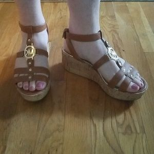 Michael Kors Brown Leather Platform Sandals